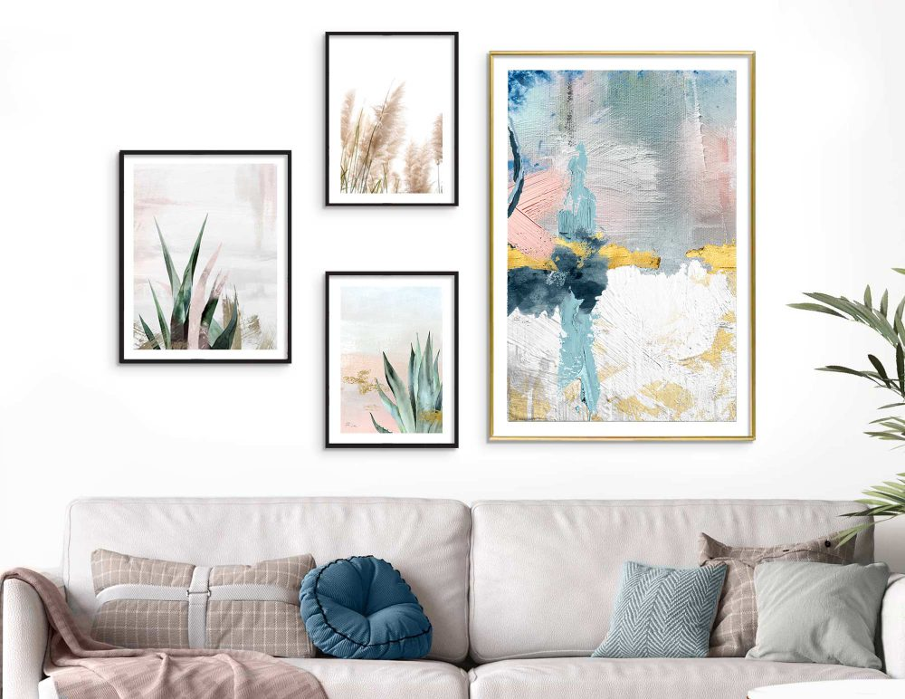 Set of 4 wall art pictures, an original illustration, Starting Point | Wall art for living room, bedroom and interior space