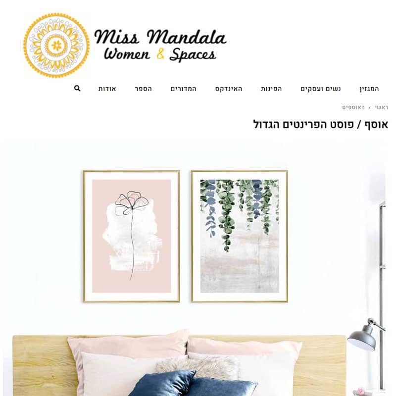 תמונות לסלון של אליאור דקור בכתבה מתוך מגזין מיס מנדלה